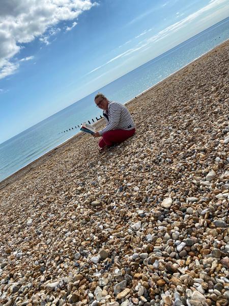 Miss Jennings on the beach!