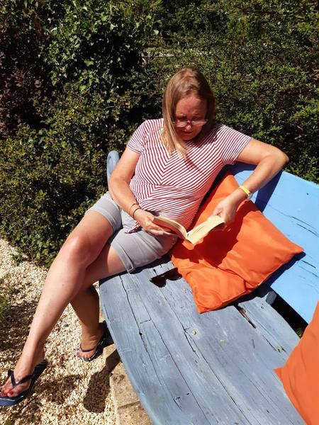 Mrs Hale with a comfy cushion!