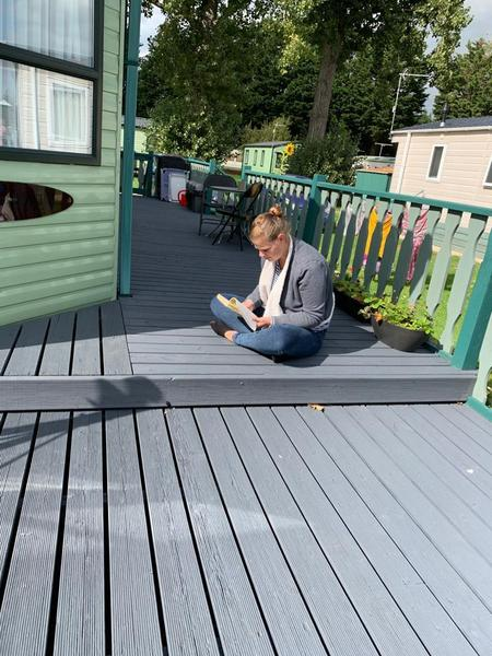 Mrs Lawrence on the decking!