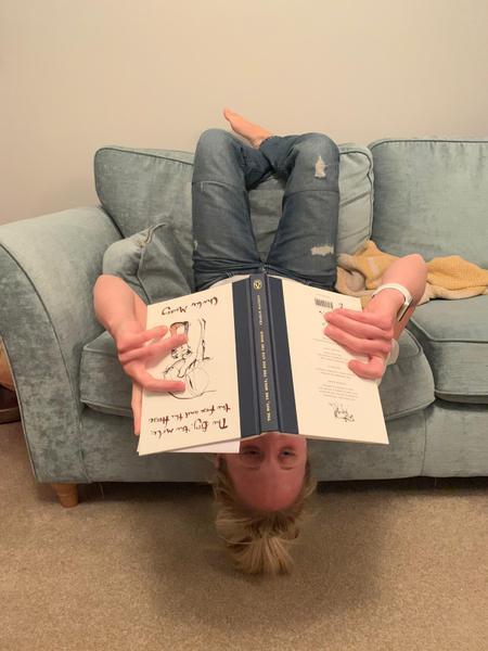 Mrs Barrett upside down!