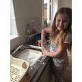 Olivia's been helping out at home!
