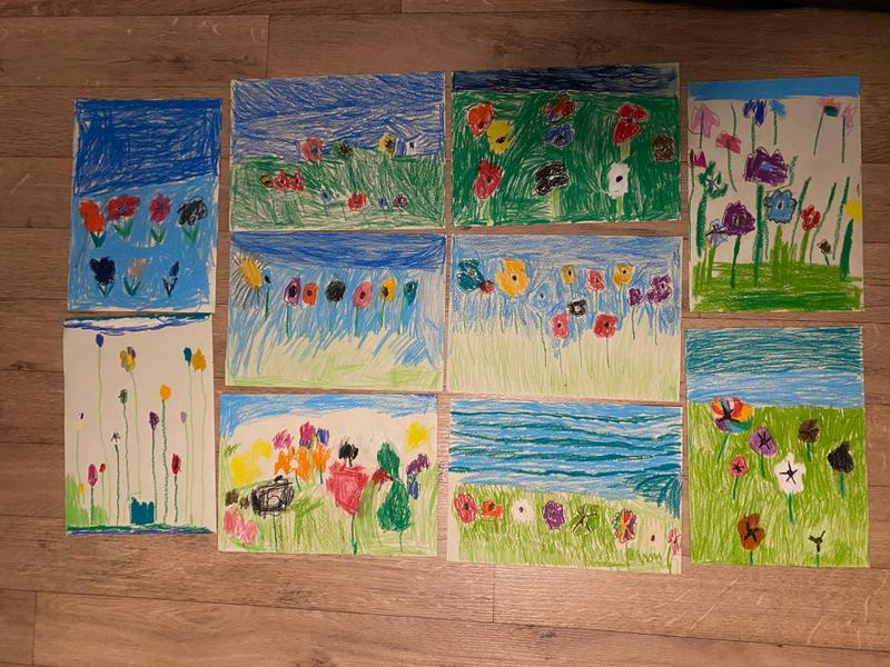 Year 2's pastel drawings