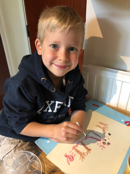 Alex painting with watercolours!