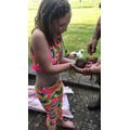 Phoebe found a toad in her garden!