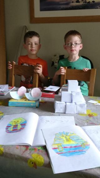 Jacob and Elias brilliant pyramid and masks!