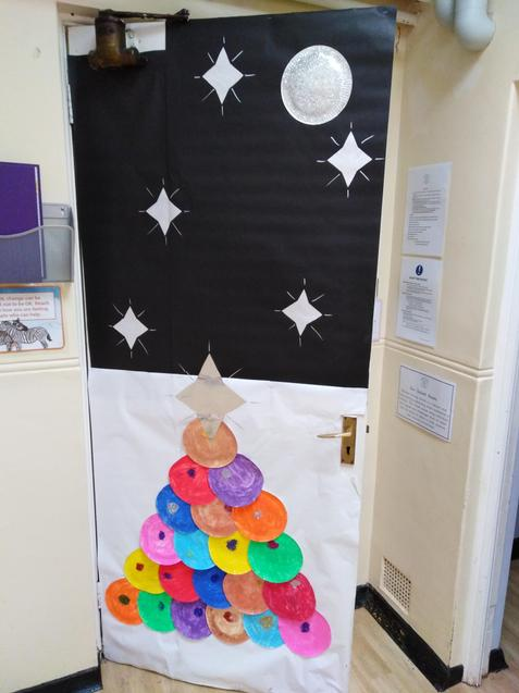 Christmas door. Tree by Puffin Class