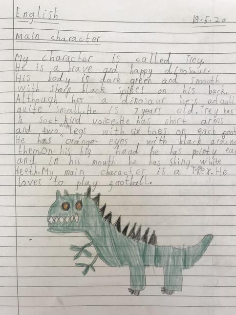 Noah's writing about his dinosaur
