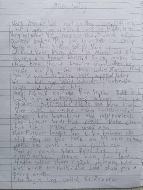 A report on Mary Anning by Tallulah