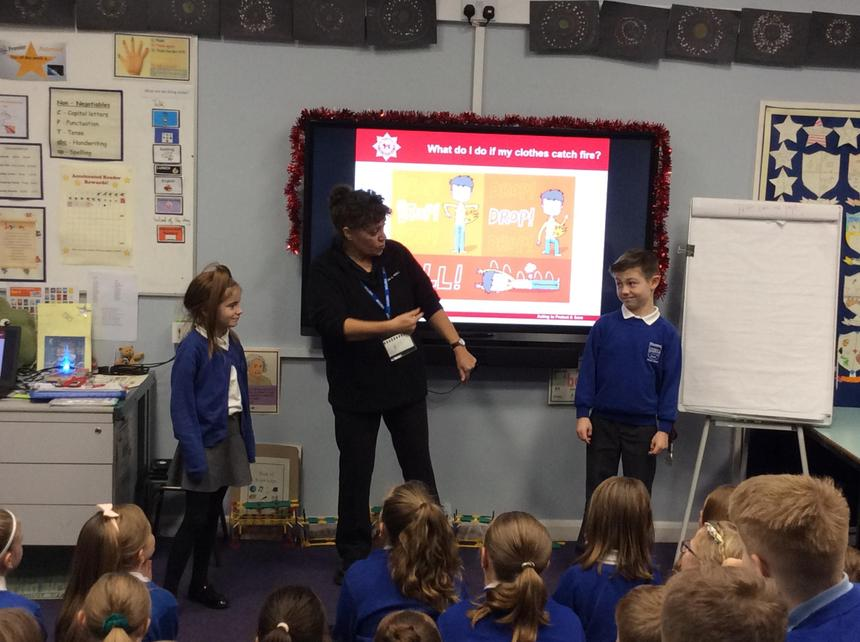 Year 5 learning about fire safety.