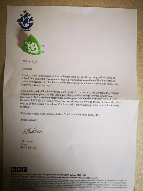 Isla's Blue Peter letter