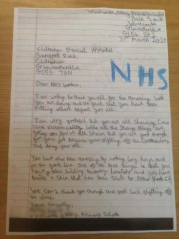 A lovely thank you letter to the NHS