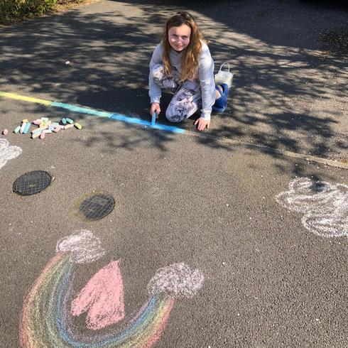 Making a colourful driveway - we love the rainbow!