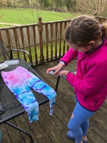 Isabel has been having a go at tie dying!