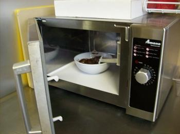 Melt the chocolate in the microwave.