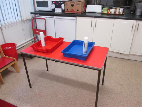 messy play area for shaving foam/painting etc.
