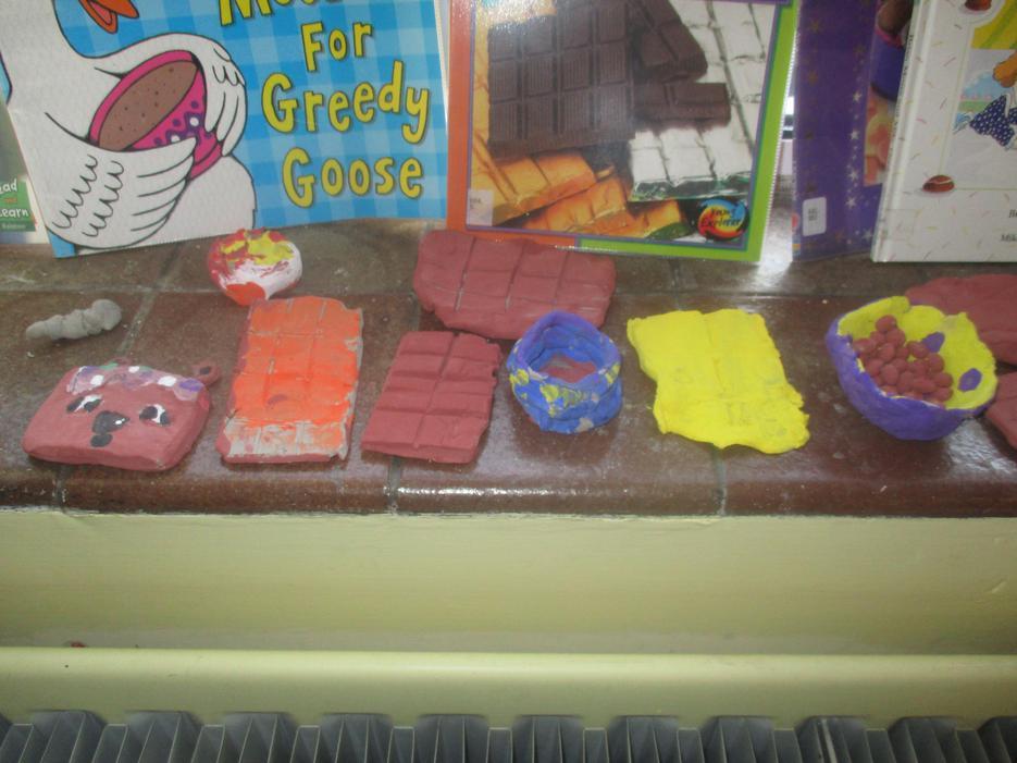 We made clay chocolate treats!