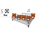 5 baby bears jumping on the bed,