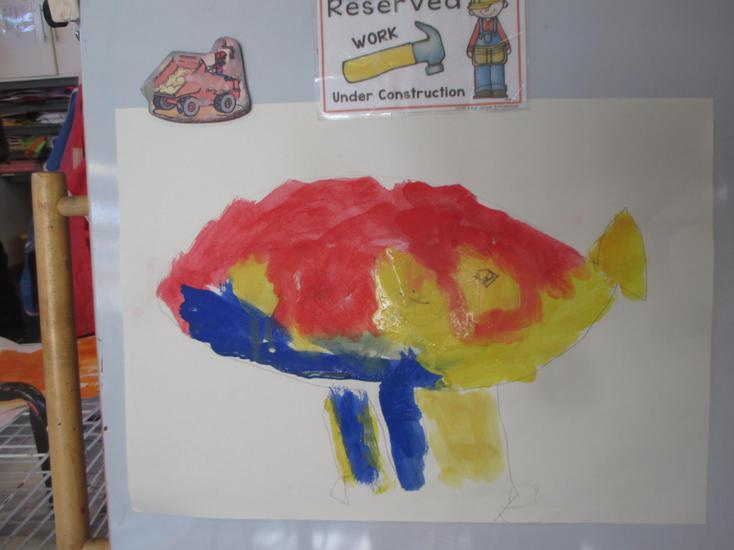 Oliver painted a plane; this was he fifth attempt!