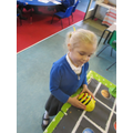 Entering algorithms to direct the Beebots.