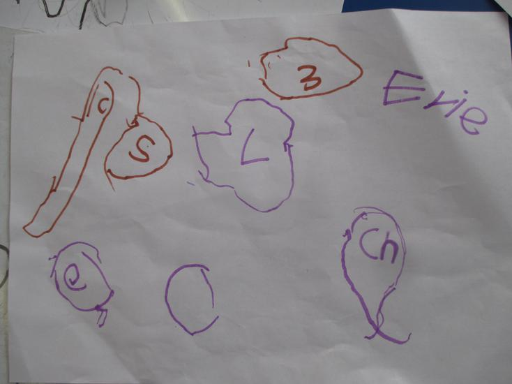 Evie labelled her picture with the initial sounds.