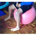 """Alerting"" - bouncing and balancing on a gym ball."