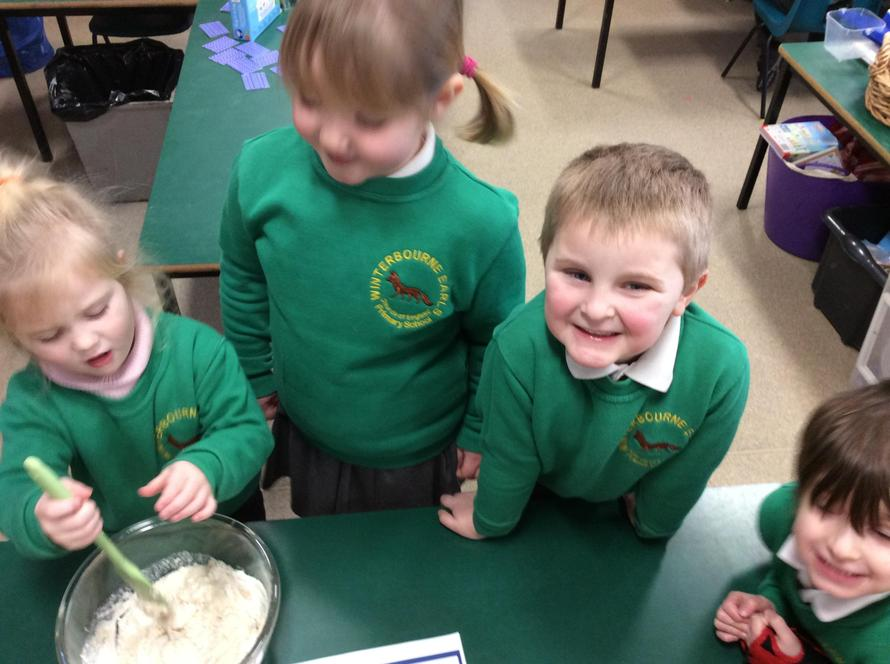 After weighing out the ingredients, we had a turn to mix the Play dough