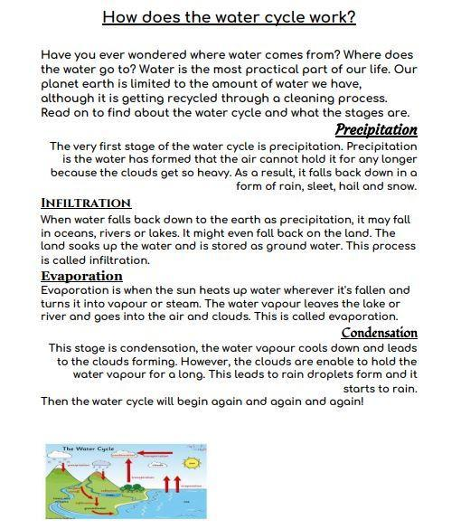 Explanation of a water cycle