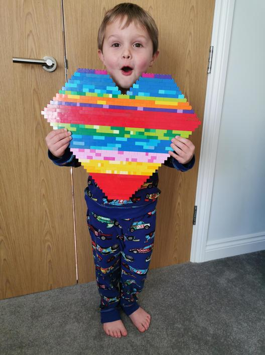 Look at Jacks's amazing lego rainbow heart!