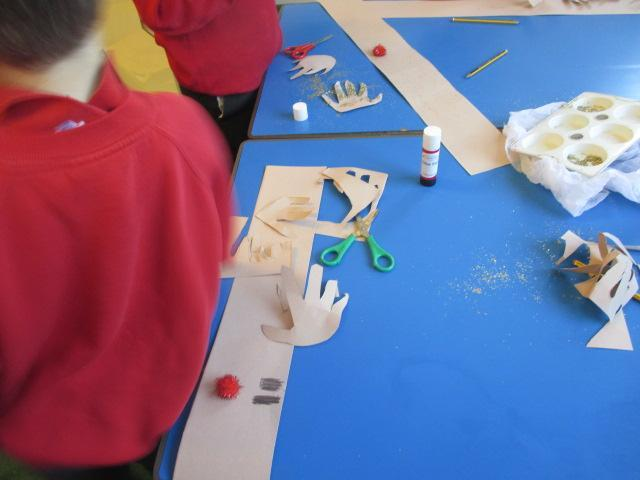 Making our reindeer hats for the Christmas lunch.