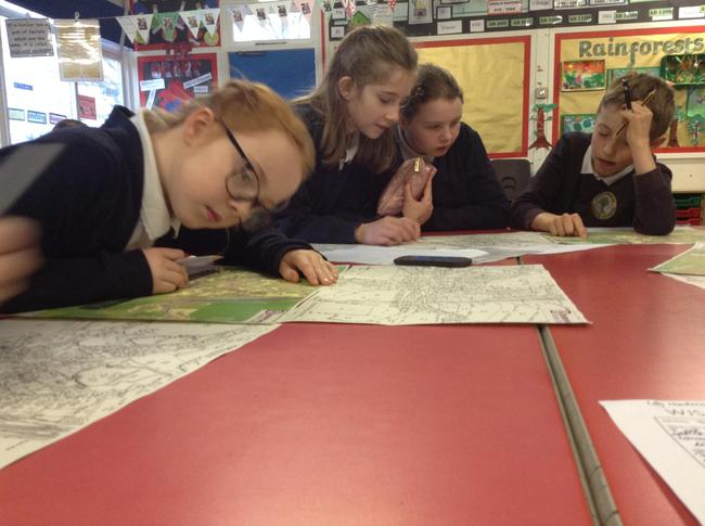 Looking at maps with Mr Lathbury