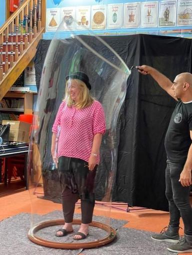 Mrs Byers in a bubble
