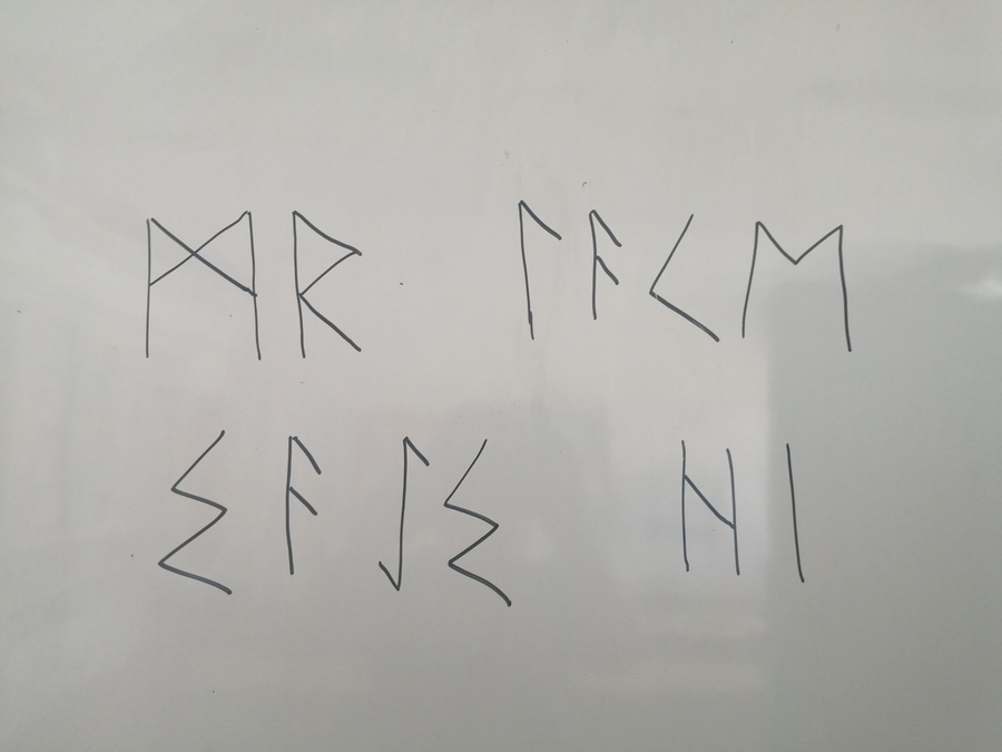 Mr Lake's name in viking runes