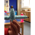 Worry doll made using sticks from our Nature Area and wool.