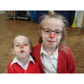 Spotty faces and a red nose