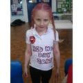 A fantastic homemade T shirt and red hair!