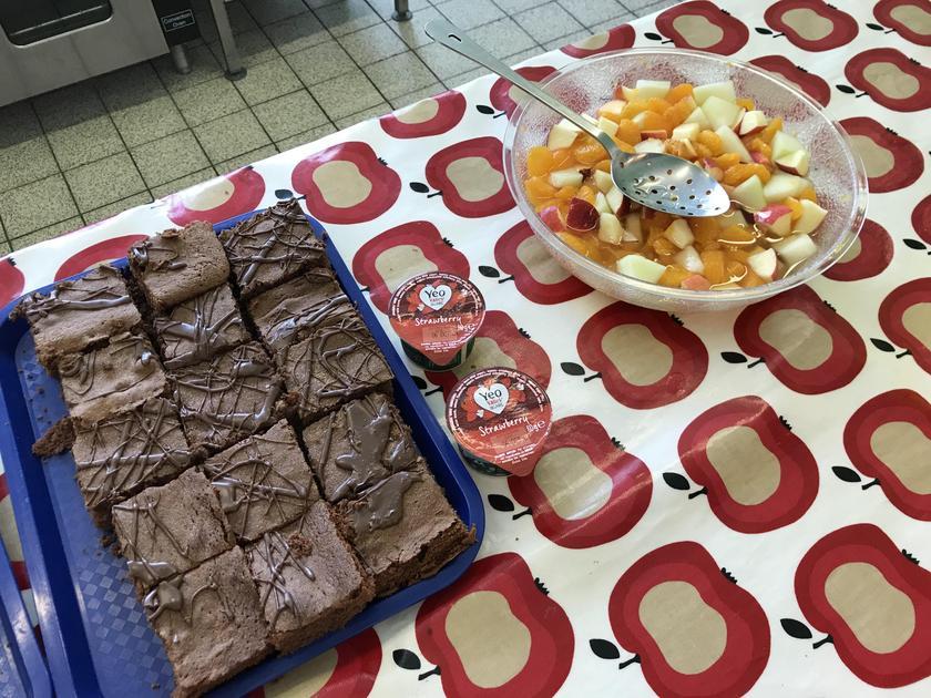 Fruit salad or cake for dessert.