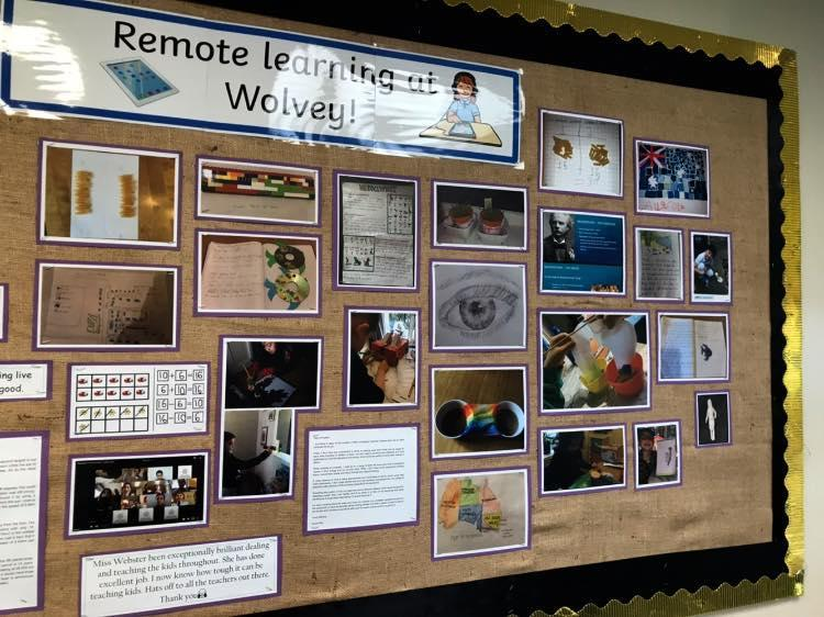 Our remote learning is now on display in our entrance hall.