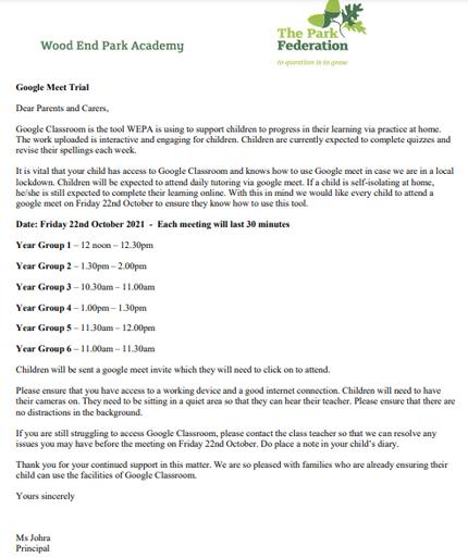 Google Meet Trial - Friday 22nd October 2021