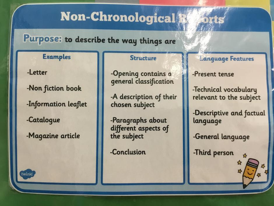 What is a non chronological report?