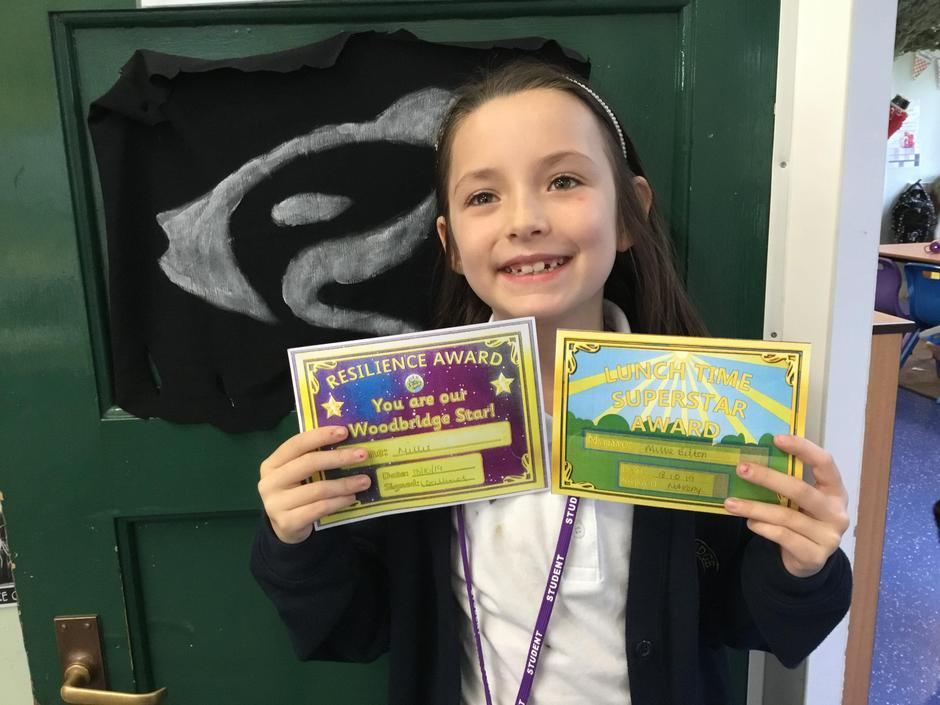 Millie also received the lunchtime award.