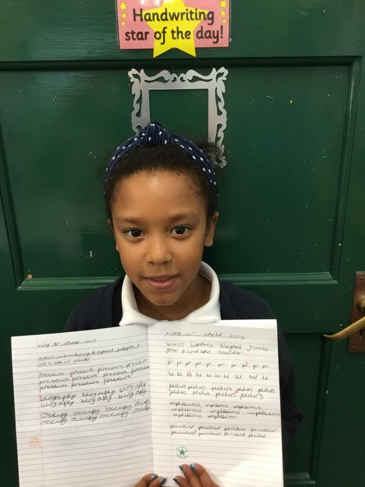 Merci-Rose is showing her lovely handwriting.