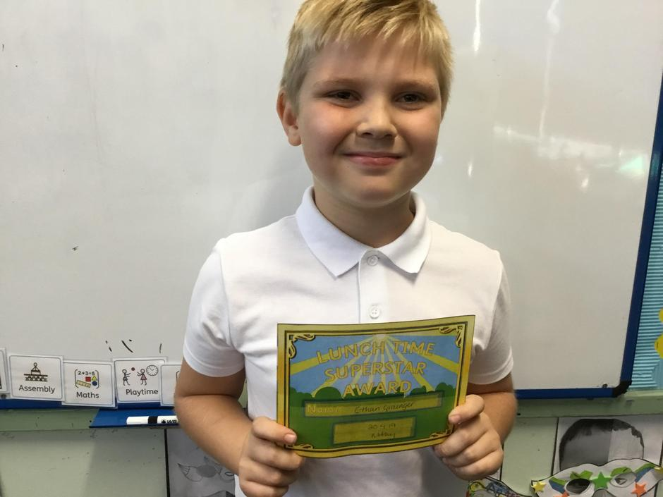 Ethan received a lunch time award.