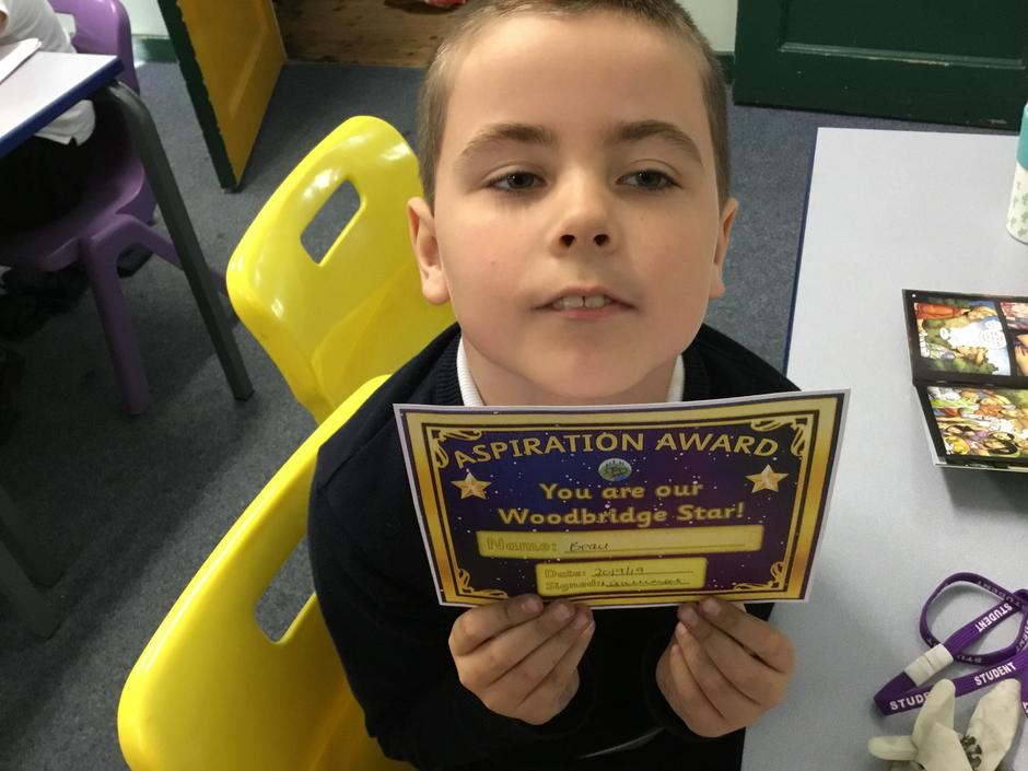Beau received an award for aspirational artwork.