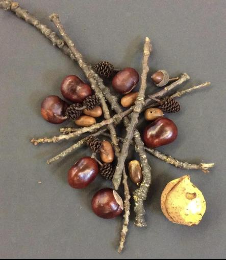 Autumn art in the style of Andrew Goldsworthy.
