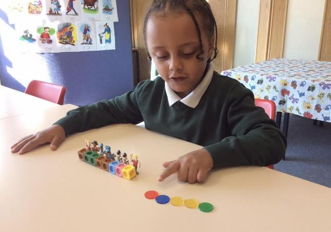 Sorting and counting to develop mathematical skills.