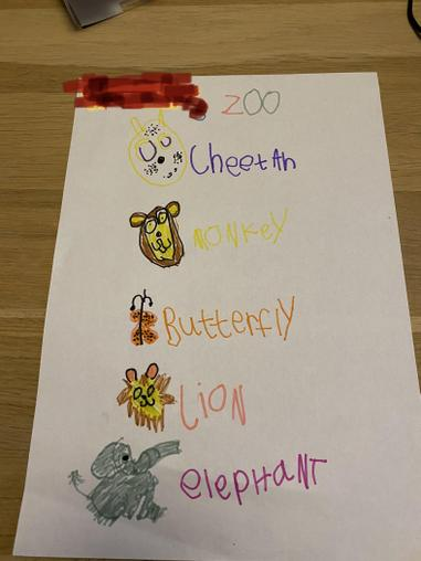 An example of animals for a zoo.