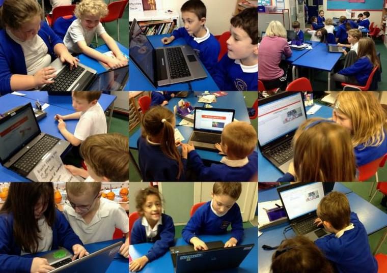 Using laptops to write new reports about Christmas