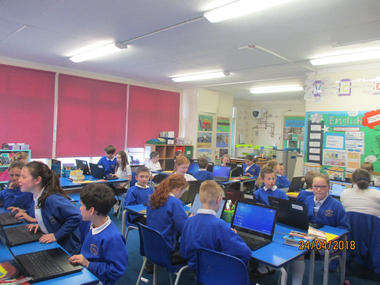 Maple class practising E-safety in ICT.