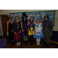 Staff at Woodcote Primary School on World Book Day