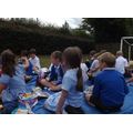 Enjoying a picnic lunch at school.